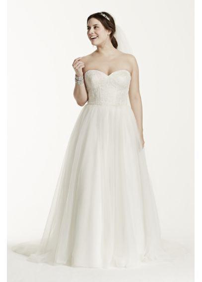 Weiches Tüll Spitze Korsett Plus Size Brautkleid 9Wg3633