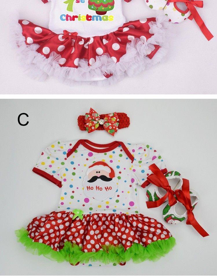 Weihnachten Baby Mädchen Infant 3 Stücke Kleidung Sets