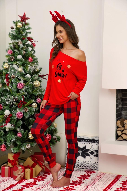 Weihnachten Damen Pyjama Sets T Shirt Kariert Hose