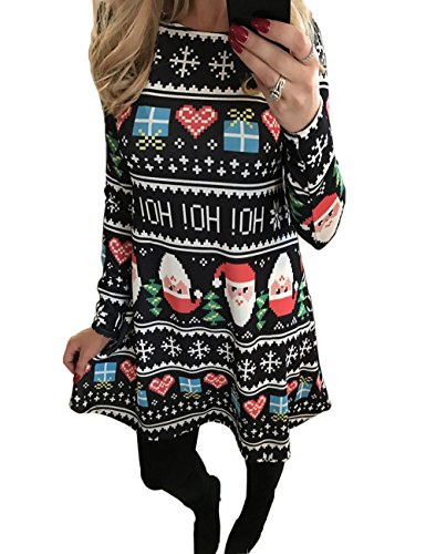Weihnachtskleid Damen Festlich Rockabilly Kleid Mit