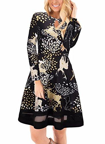 Weihnachtskleid Damen Skirt Alinie Rock Kleid Mit