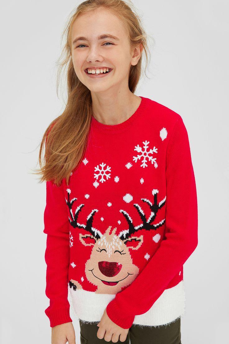 Weihnachtspullover  Glanz Effekt  Kinderbekleidung
