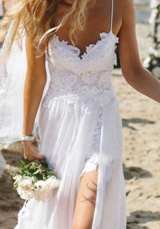 Weiß Condole Gurt Spitze Sexy Maxikleid Strandkleider