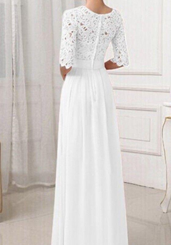 Weiß Damen Langarm Spitze Maxikleid Lange Abendkleid