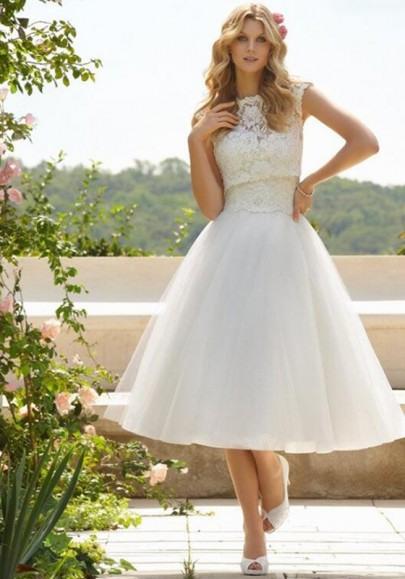 Weiß Flickwerk Spitze Midikleid Abendkleider Ballkleid