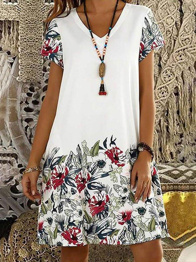 Weiß Kurzarm Vausschnitt Freizeitkleid  Sommerkleider