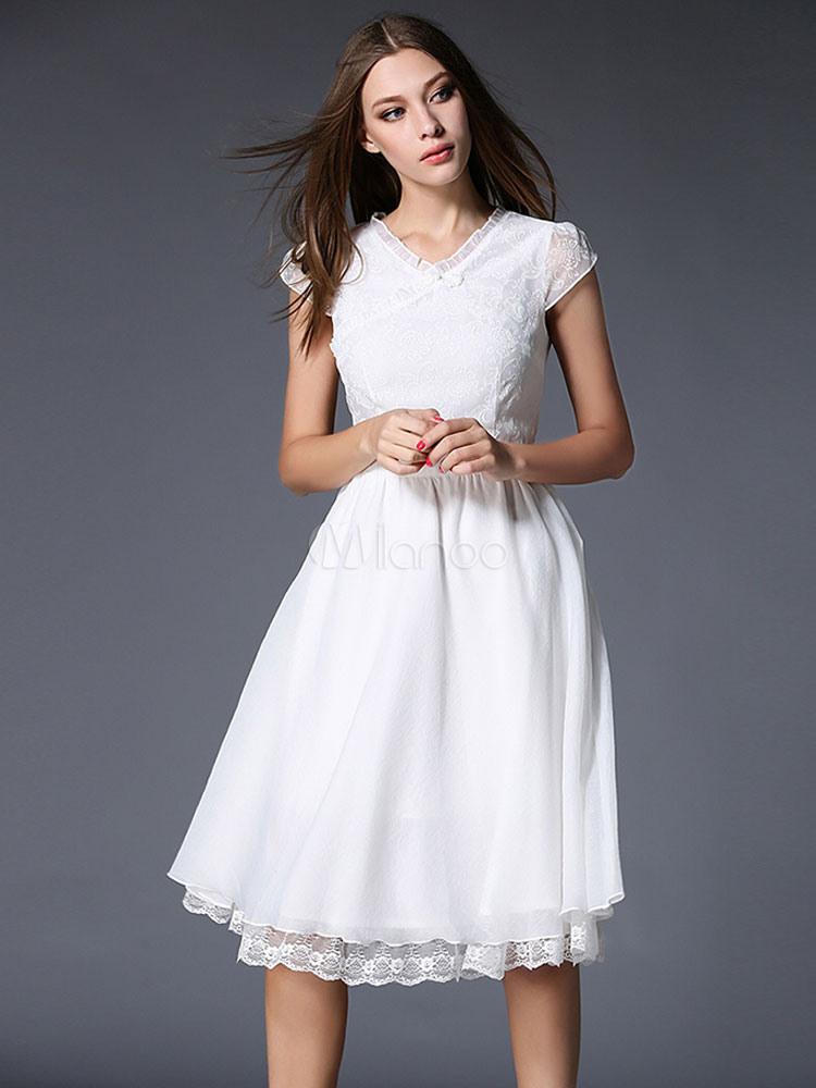 Weiß Mit Vausschnitt Spitze Sommerkleid  Milanoo