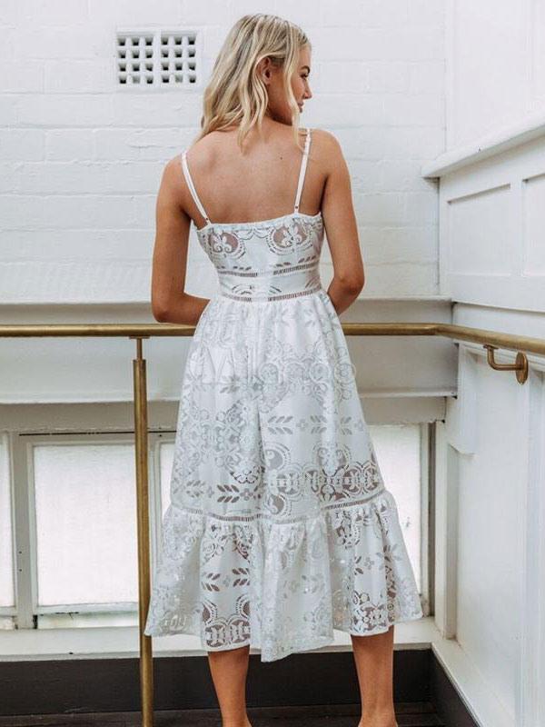 Weiß Sommerkleid Maxikleid 2018 Sexy Langes Kleid Spitze V