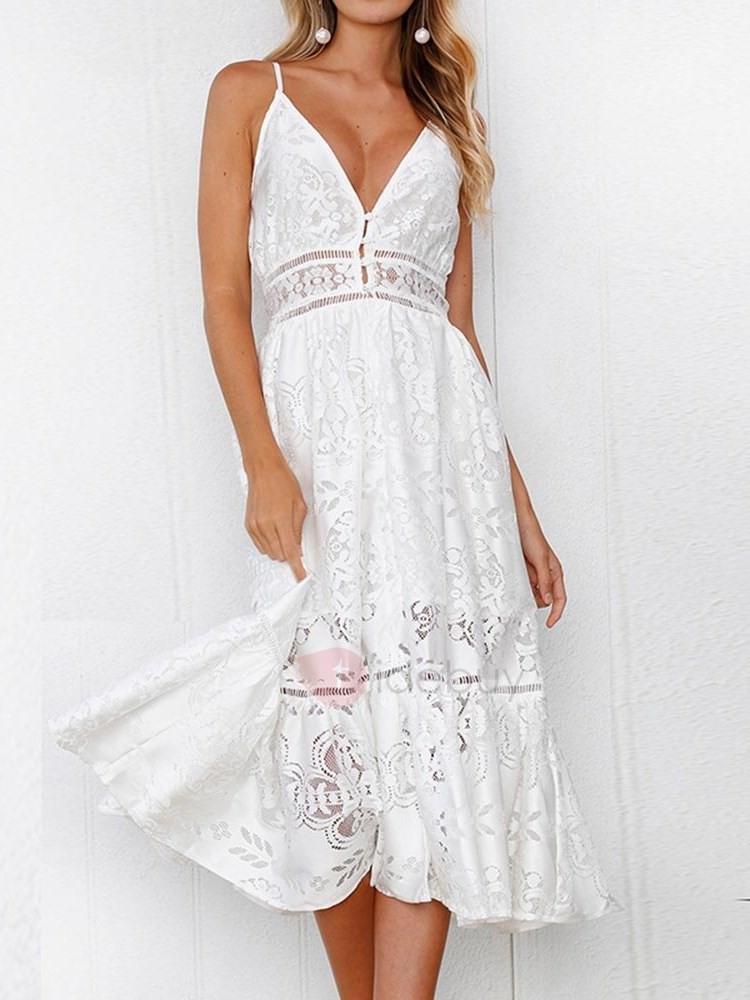 Weiß Spitze Cami V Ausschnitt Kleid  Tidebuy De