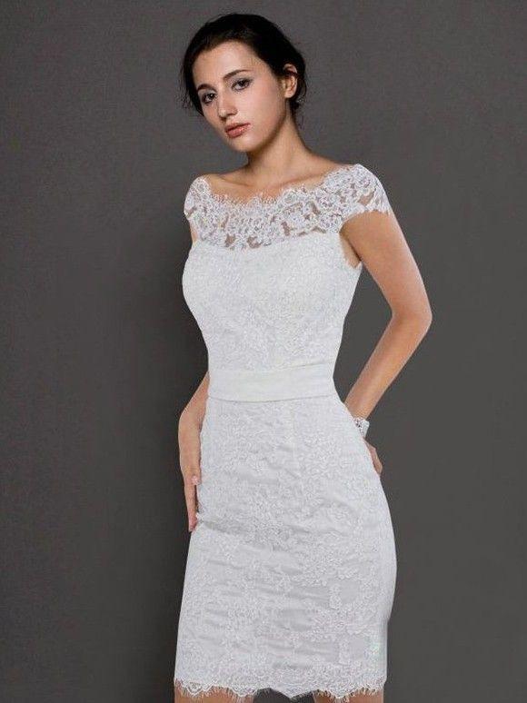 Weiß Spitze Cocktailkleid  Kleider Brautkleid Trägerlos