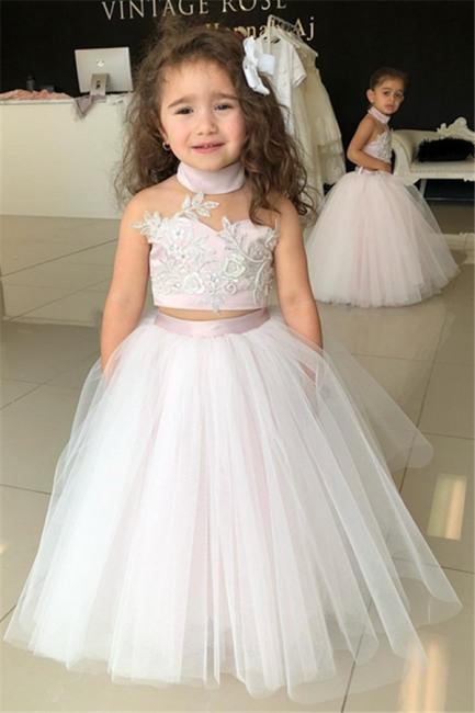 Weiße Blumenmädchenkleider Für Hochzeit 2 Teilige Kleider