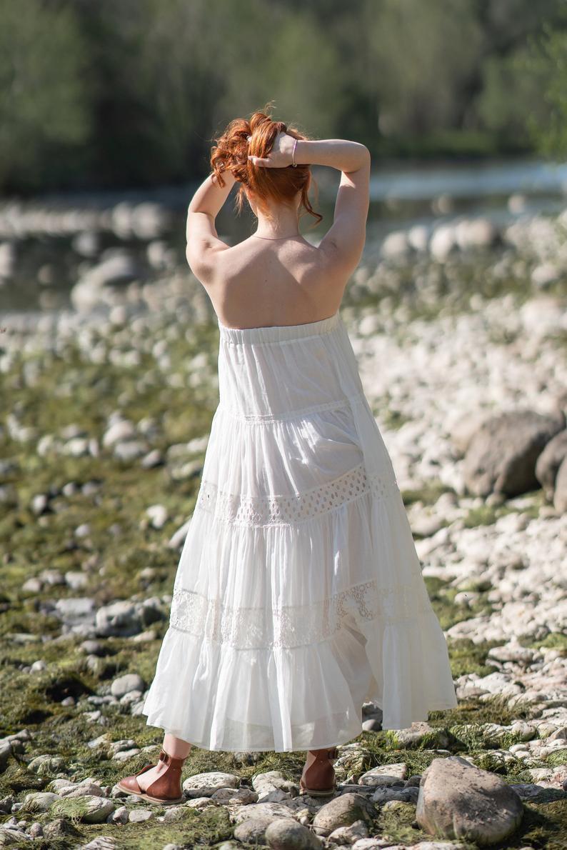 Weiße Boho Maxi Kleid Sommerkleid Plus Größe Strapless  Etsy