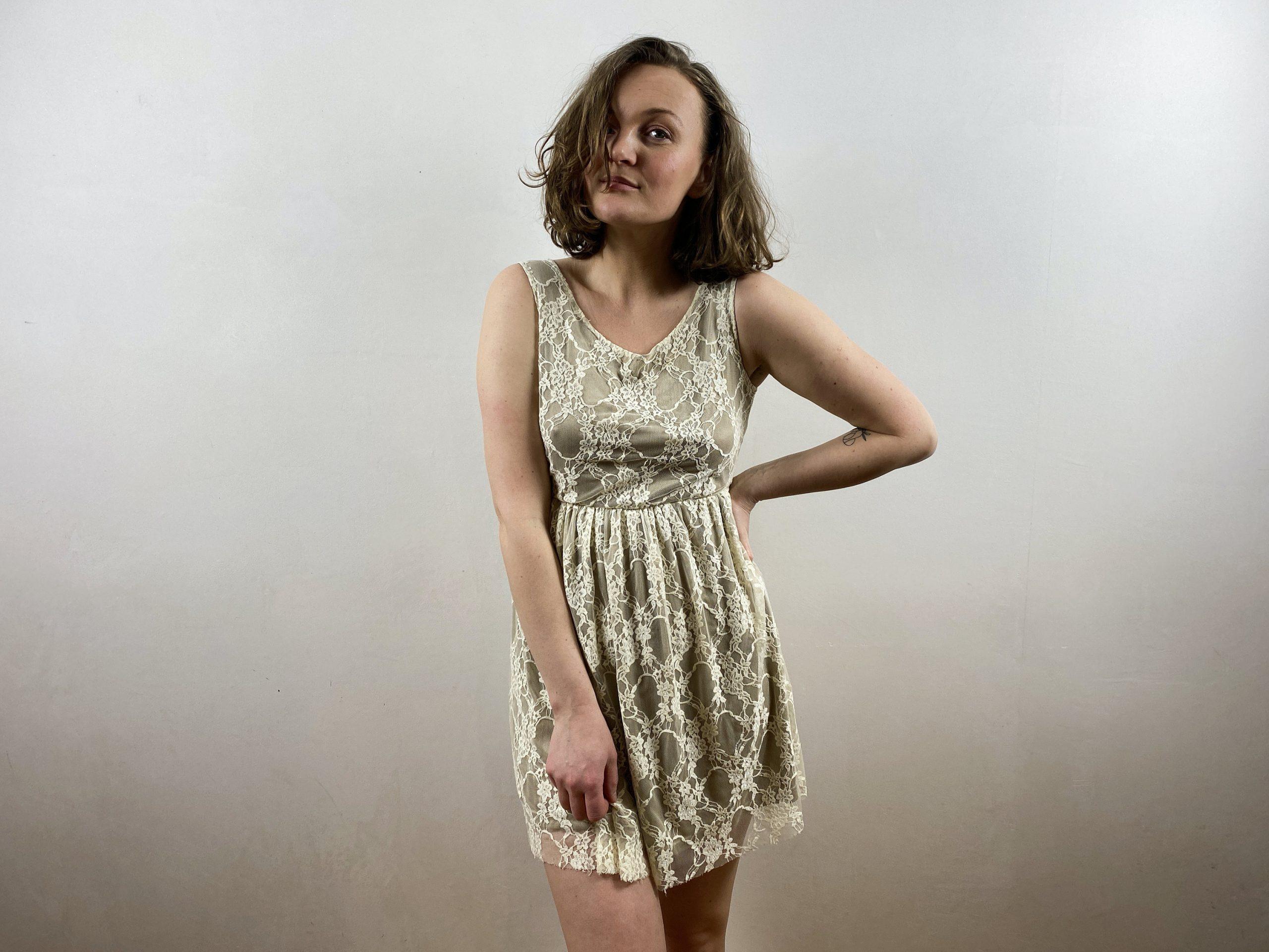Weiße Creme Spitze Sommer Mini Kleid Vintage Weiß Babydoll