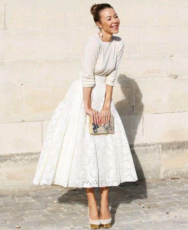 Weiße Kombi Spitzenrock  Winter Hochzeit Kleidung
