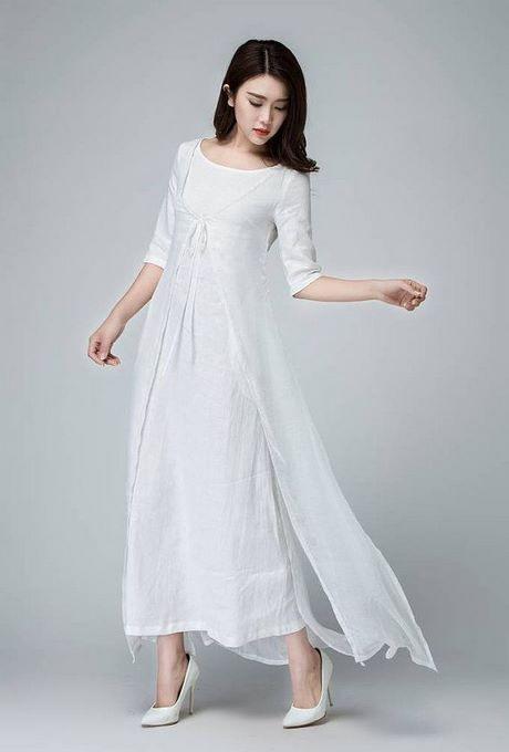 Weiße Lange Baumwollkleider