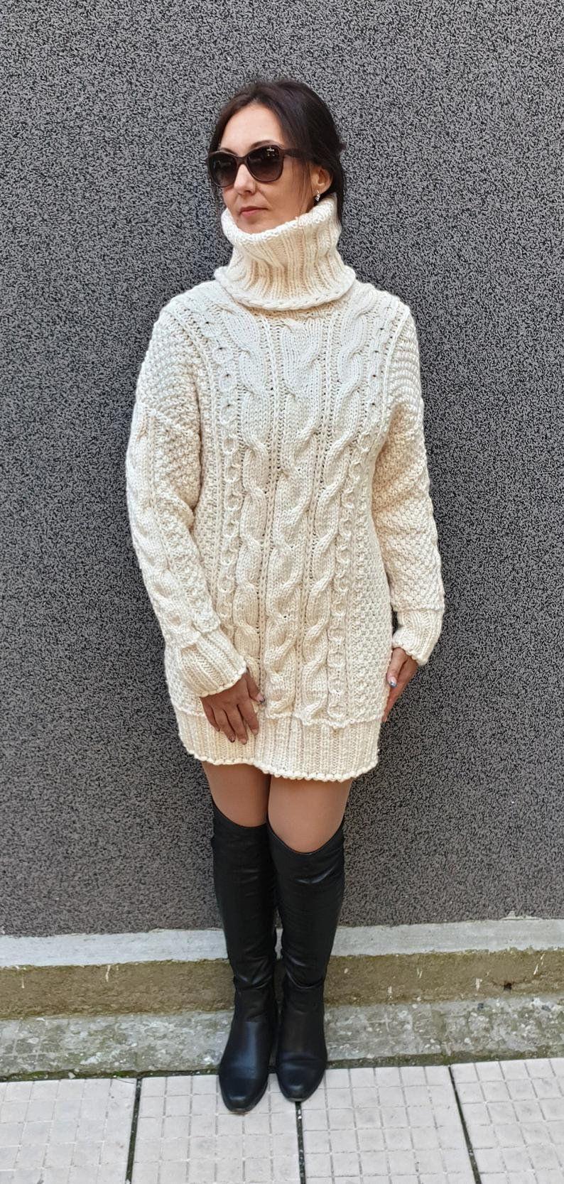 Weiße Lange Mohair Kleid Pullover Pullover Jersey Hand