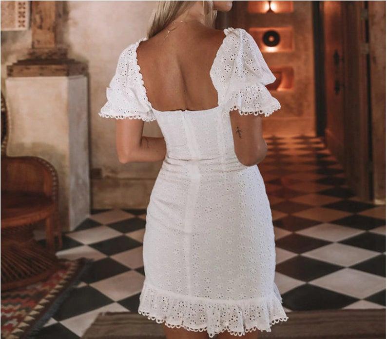 Weiße Spitze Kleid 2020 Sommer Boho Kleid Hochzeitskleid