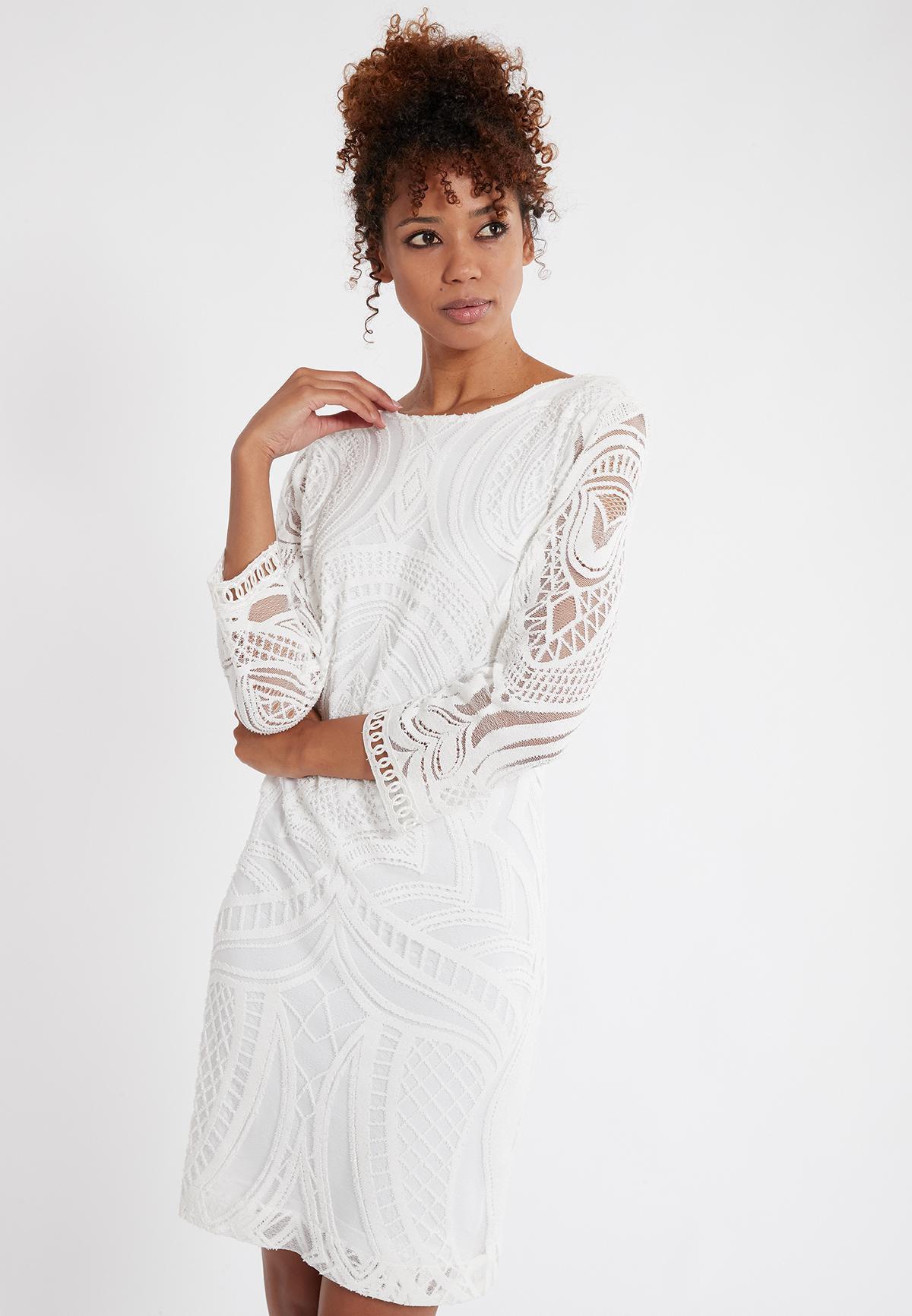 Weißes Alinienkleid Sasike Aus Ornamentspitze  Ana Alcazar