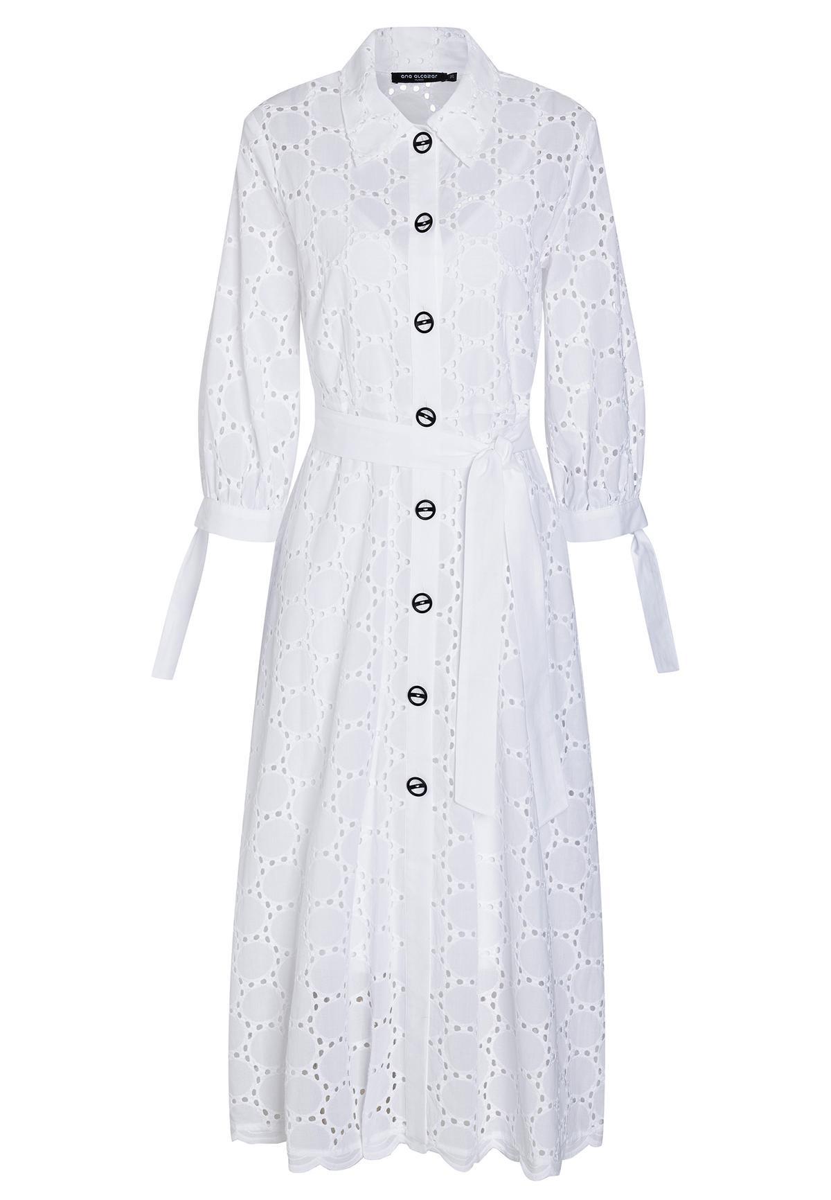 Weißes Blusenkleid Zekla Aus Lochspitze Mit Gürtel