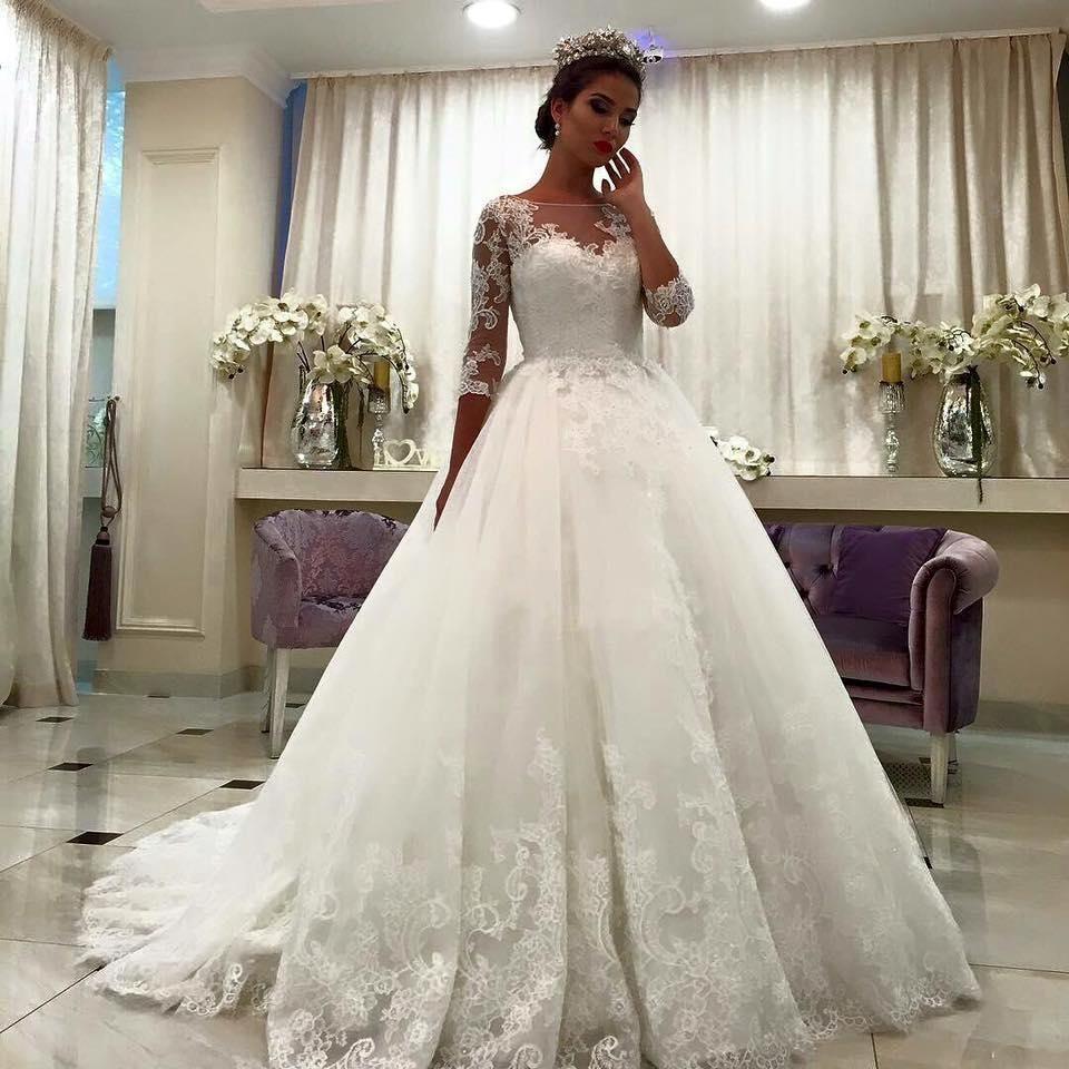 Weißes Brautkleider Mit Ärmel Spitze A Linie Organza