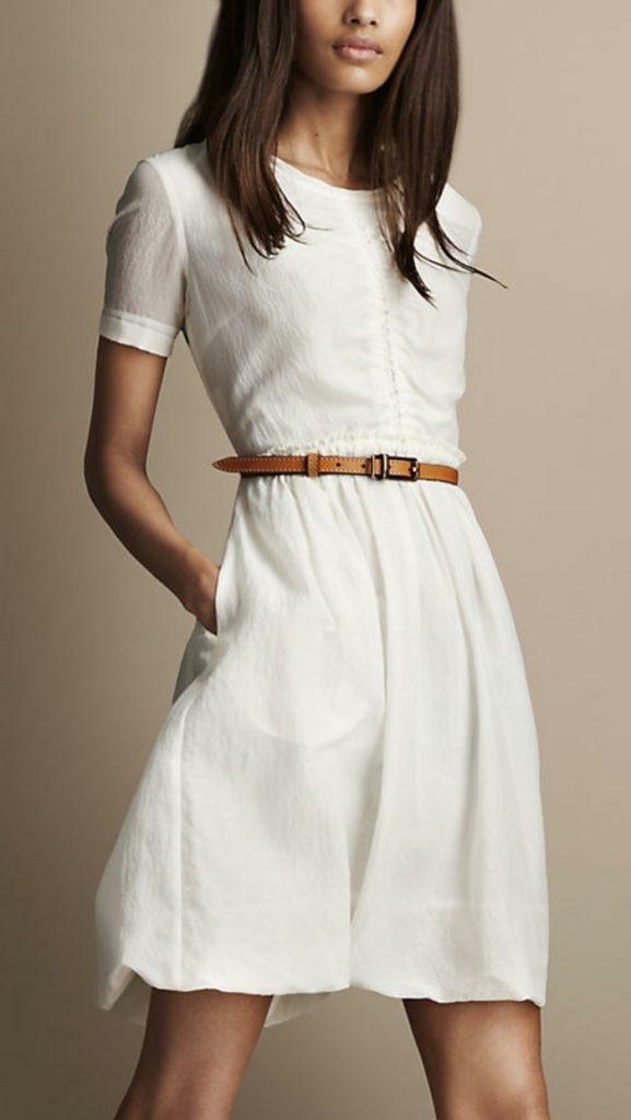 Weißes Kleid Ärmel Beamer Ballon Längengrad  Davanoch