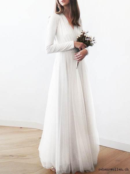 Weißes Kleid Lang Mit Ärmel