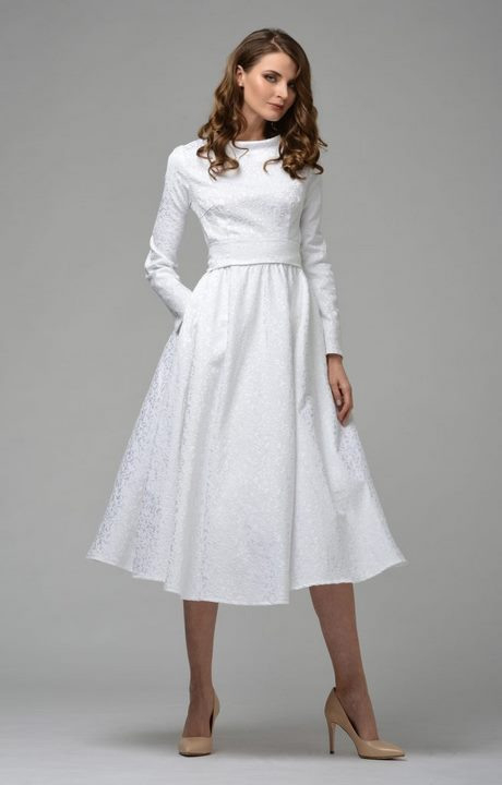 Weißes Kleid Langärmlig
