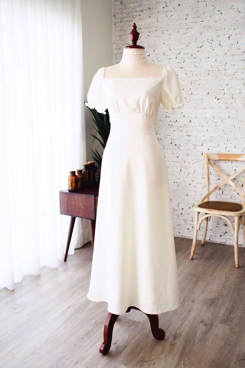 Weißes Kleid Puff Ärmel Vintage Hochzeitskleid Lange