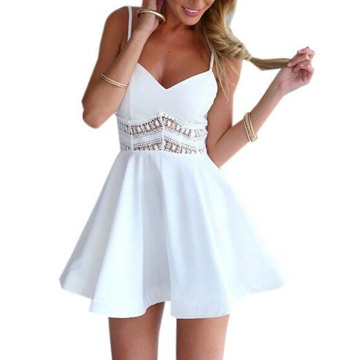 Weißes Kurzes Kleid Mit Vausschnitt Und Spitze  Pretty
