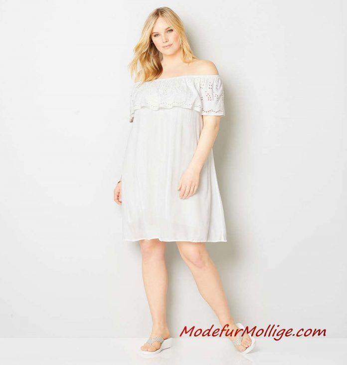 Weißes Rüschenalinienkleid Mit Ösenverzierung  2019