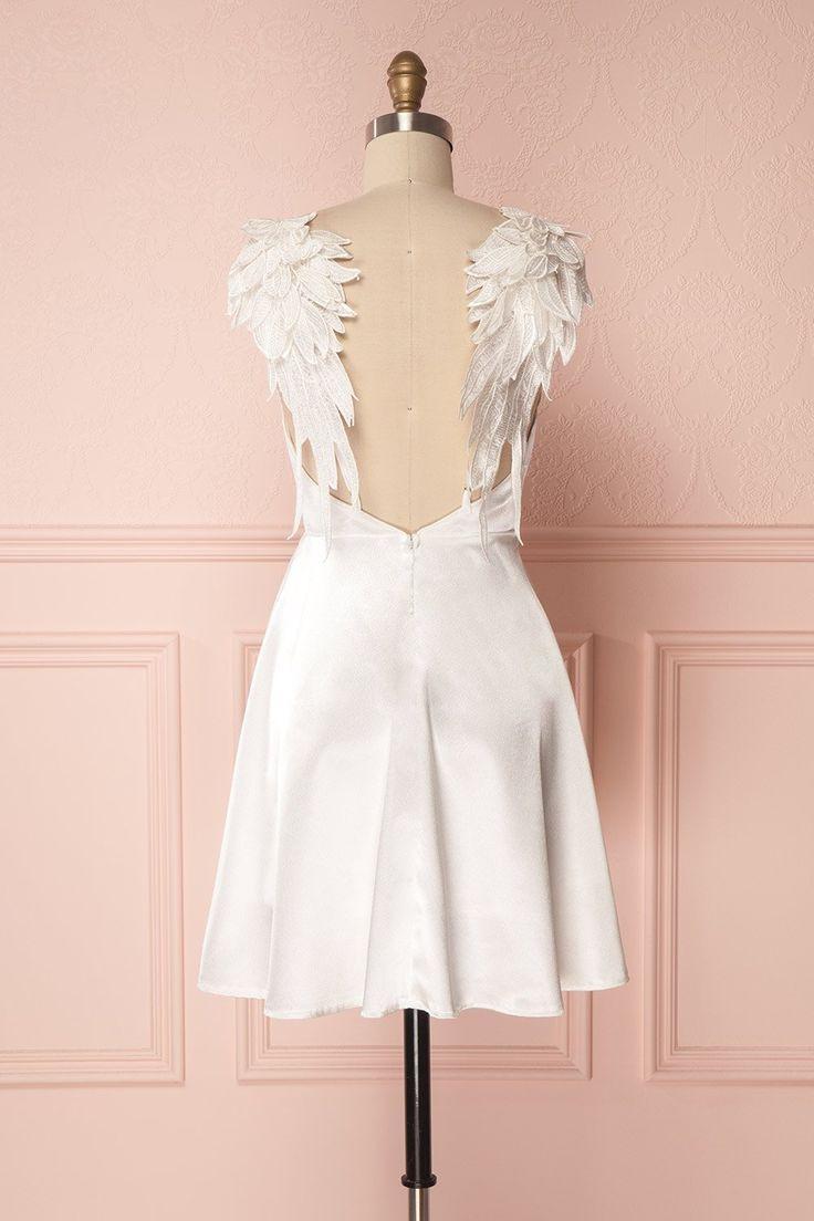 Weißes Satin Alinie Kurzes Kleid Mit Flügeln Für