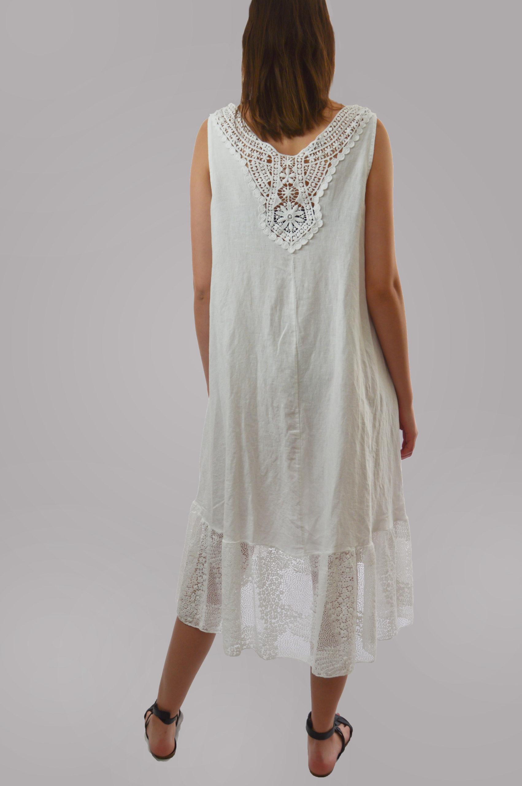 Weißes Sommerkleid Aus Leine  Reyna  Fashion