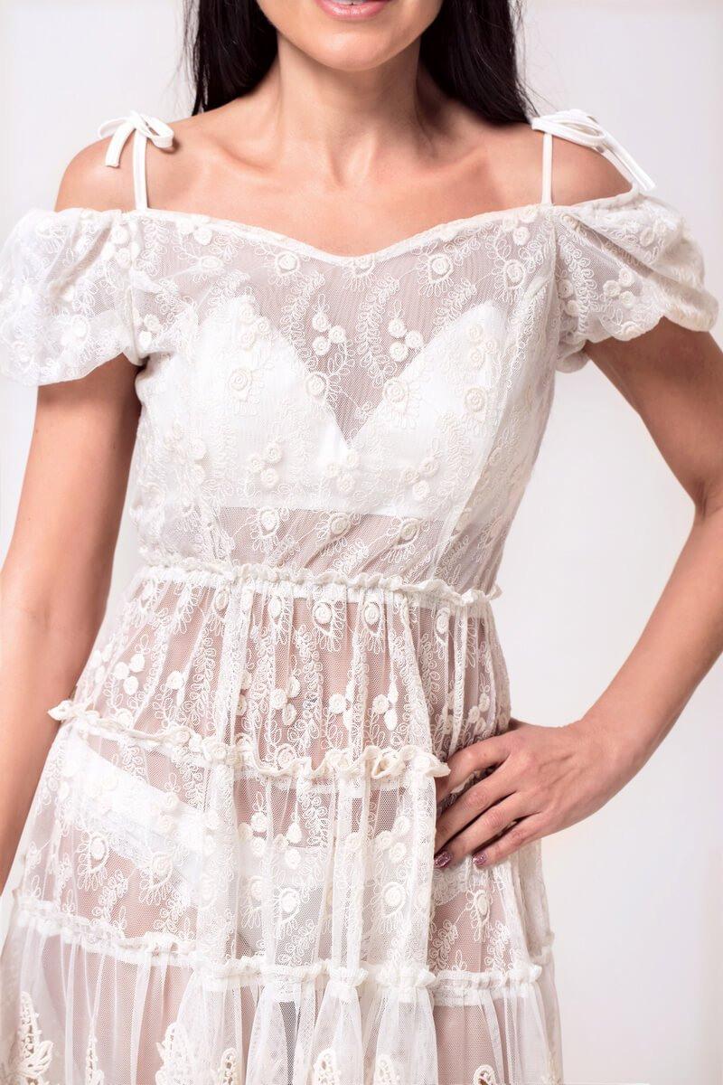 Weißes Sommerkleid Mit Spitze  Dresscoders