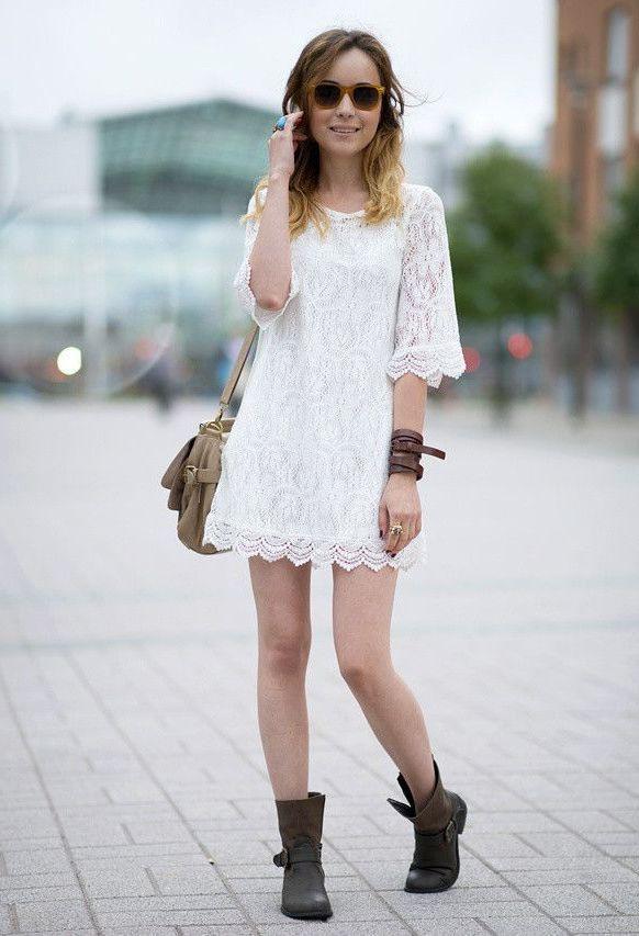 Weißes Spitzenkleid Muss Haben  Lace Dress Dresses Fashion