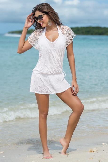 Weißes Strandkleid Kurz