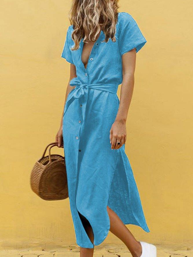 Weite Lässige Baumwollekleider Mit Hemdkragen  Modetalente