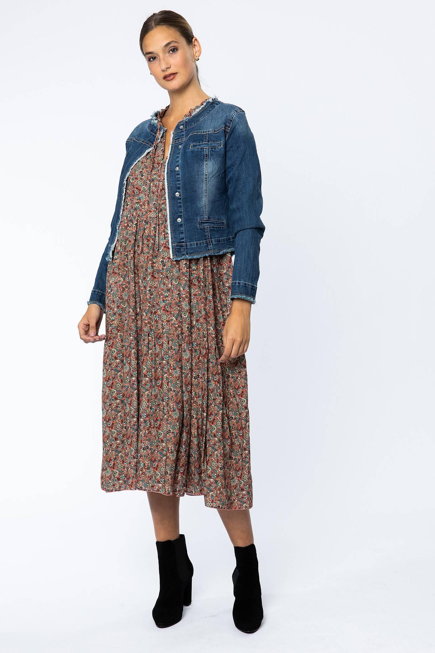 Weites Maxi Kleid Mit Kleinem Blumenmuster  La Strada