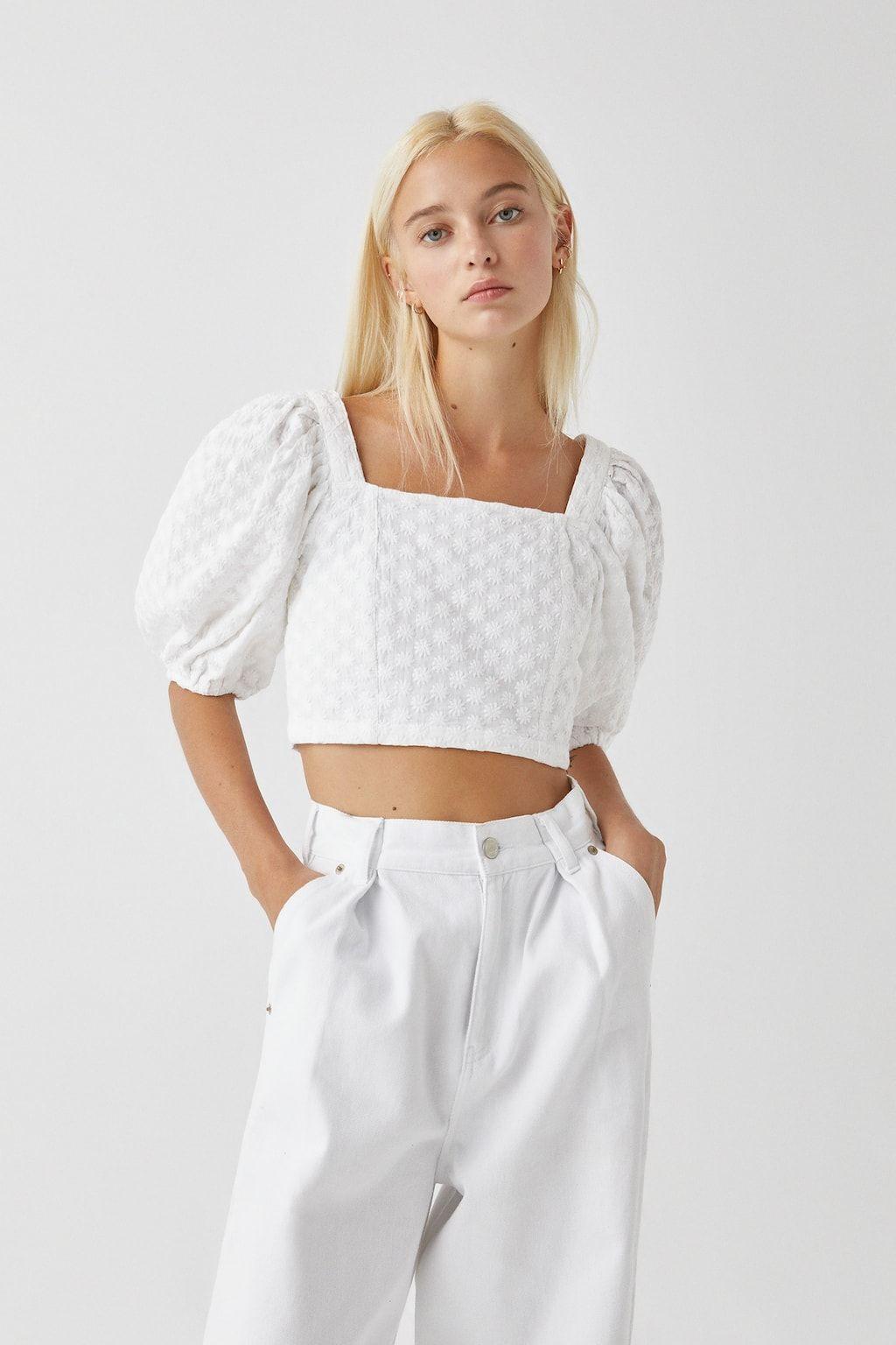 White Embroidered Shirt  Pullbear I 2020