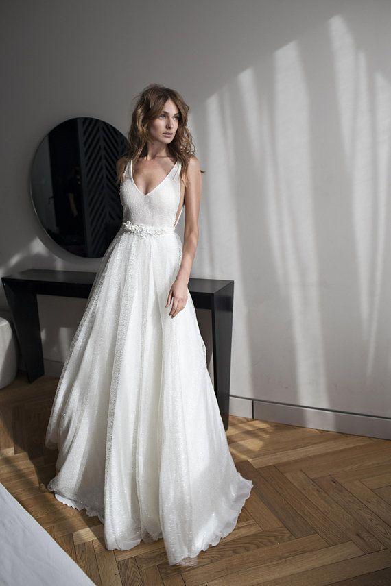 White Wedding Dress Boho Wedding Dress Lace Wedding
