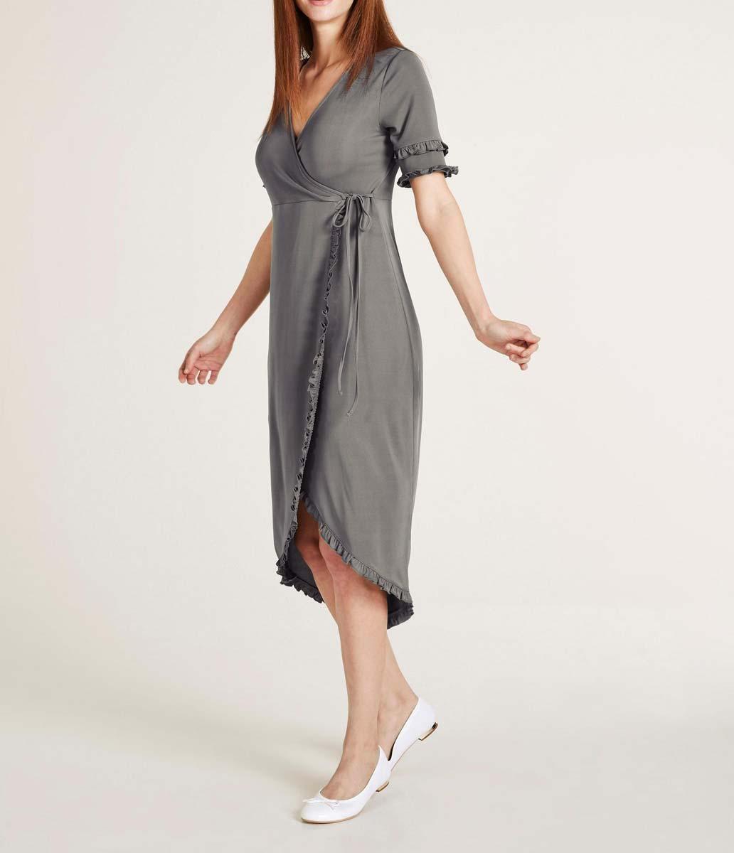 Wickelkleid Mit Rüschen Grau  Kleider  Outlet Modeshop