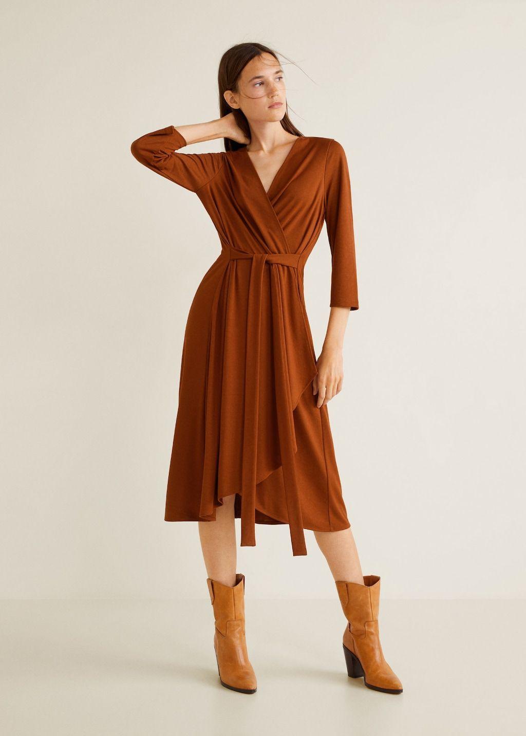 Wickelkleid Mit Taillenband  Damen  Mango Mode