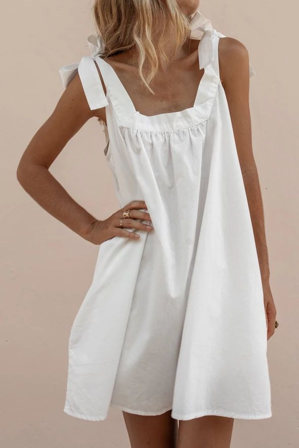 Wide Straps Casual Tied Dress In 2020  Kleidung