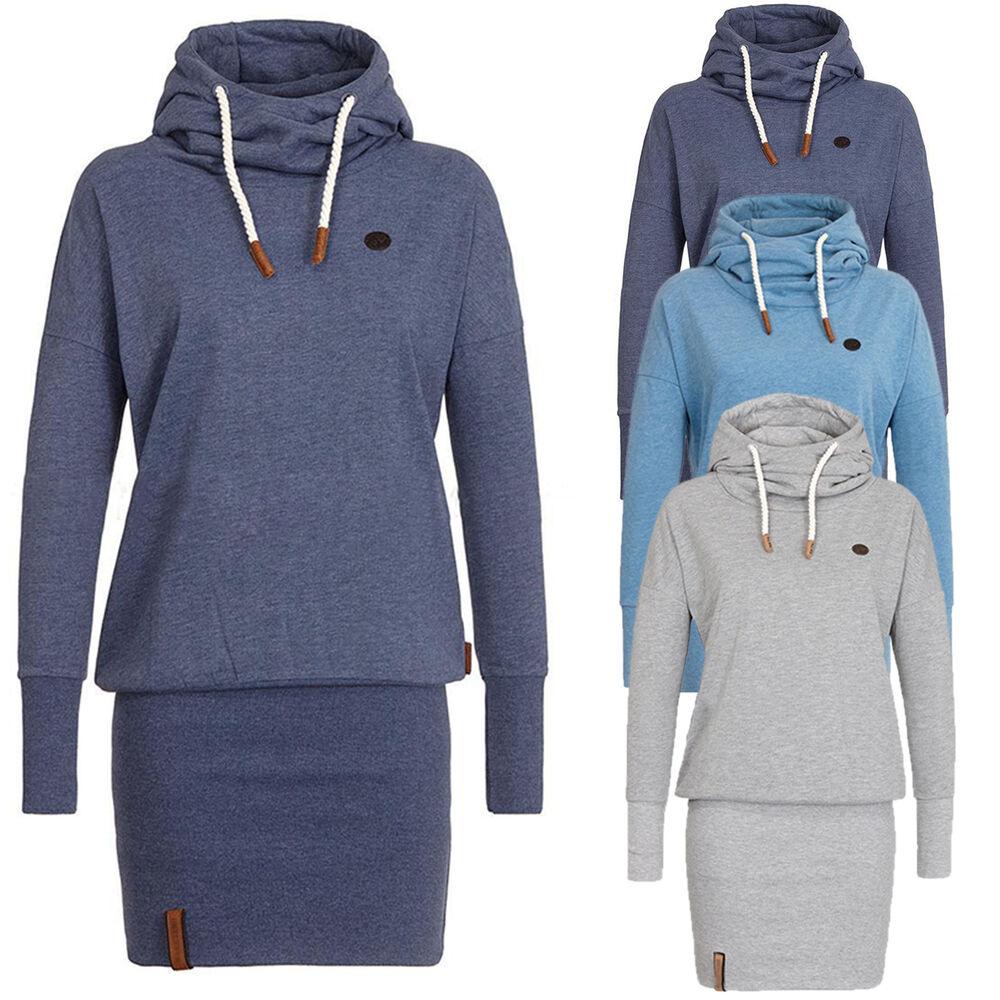 Women'S Funnel Neck Hooded Sweatshirt Casual Hoodies