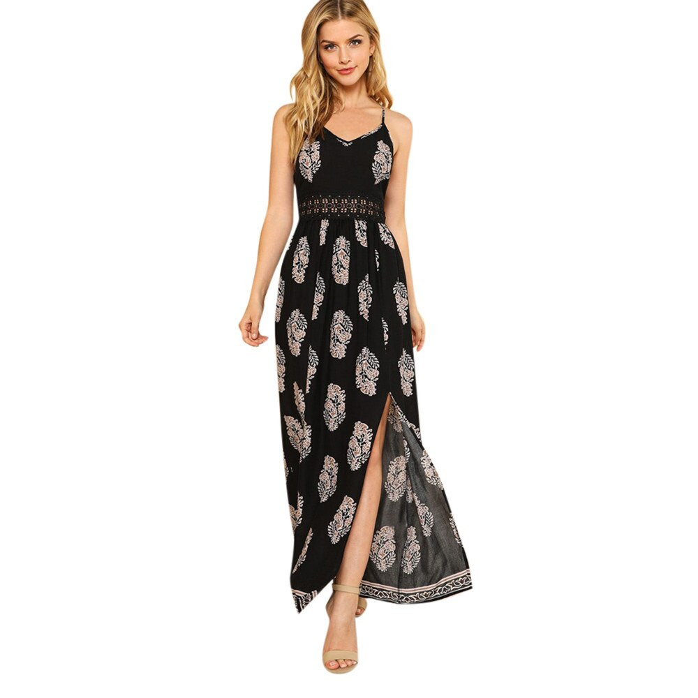 Womens Sexy V Neck Dress Feather Print Hollow Stitching