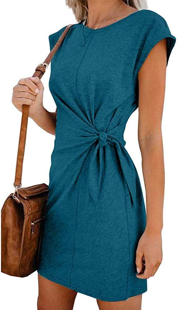 Woweal Minikleid Damen Sommer Mode T-Shirt-Kleid Einfarbig
