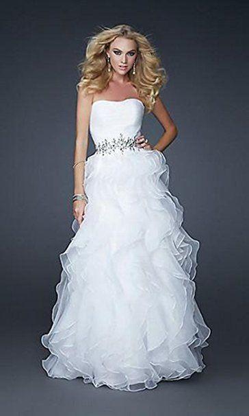 Yasiou Hochzeitskleid Damen Elegant Lang Weiß Prinzessin