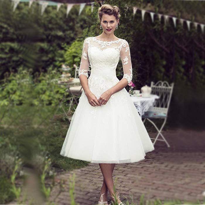 Yasiou Hochzeitskleider Standesamt Damen Kurz Weiß A Linie