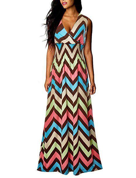Yidarton Sommerkleid Damen Lang Chiffon High Waist Striped