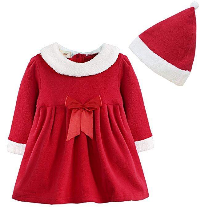 Yizyif Baby Rot Langarm Kleid Mädchen Weihnachtskleid