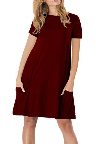 Yming Damen Kurzarm Mit Taschen Kleid Lose T-Shirt Kleid